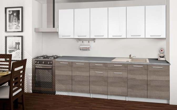 Basic - Kuchyňský blok A, 240 cm (bílá, trufle, titan)