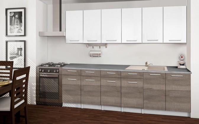 Basic - Kuchyňský blok B, 240 cm (bílá, trufle, titan)