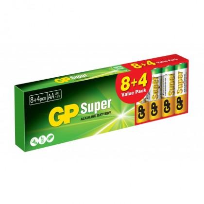 Baterie Alkaline GP Super B1320T, AA, 8+4ks