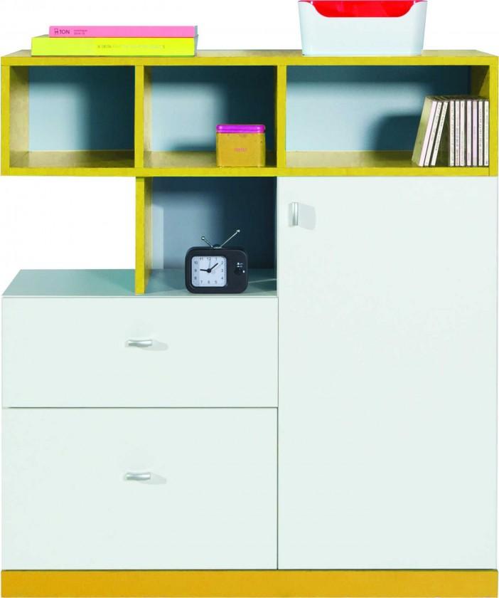 Bazar dětské pokoje Mobi - Komoda, 1x dveře, 2x zásuvka (bílá lesk/žlutá)