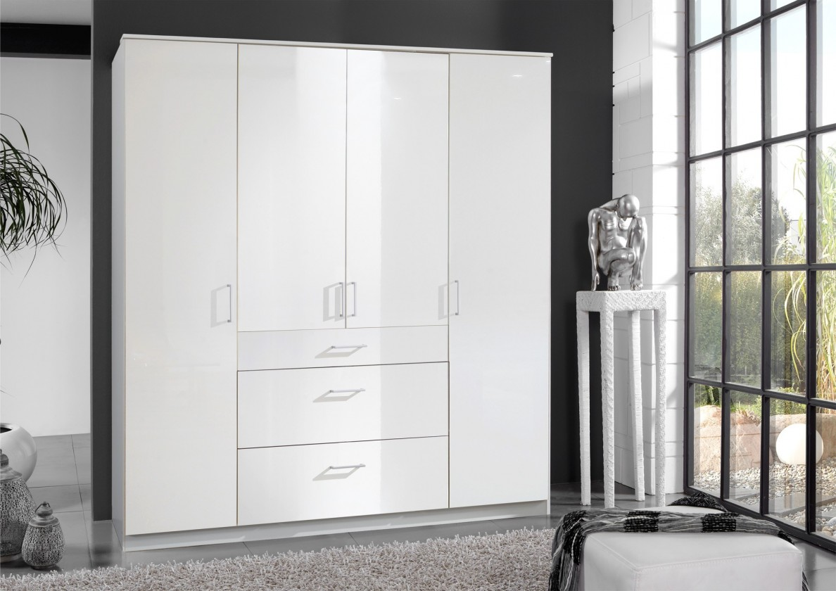 Bazar ložnice Clack - Skříň, 4x dveře (bílá, bílá)