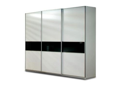 Bazar ložnice Linea (Alpská bílá/černé sklo)