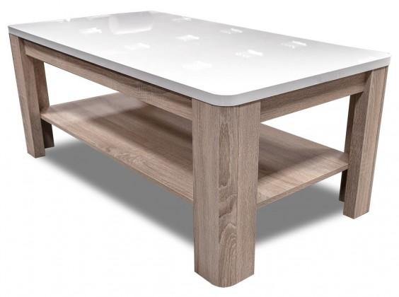 Bazar obývací pokoje Attention-FLOT12(P50 - bílý / dub sonoma / bílý lesk)