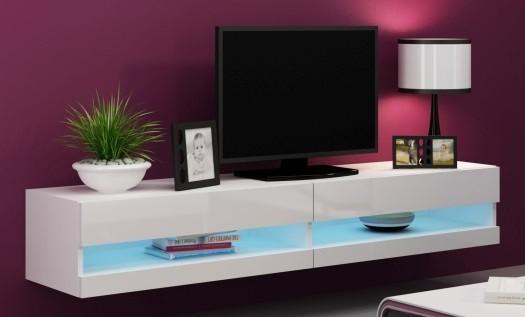 Bazar obývací pokoje Vigo - TV komoda 180 otevřená (bílá mat/bílá VL)