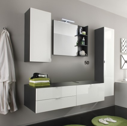 Beach - Koupelnová sestava se skříňkou pod umyvadlo (šedá, bílá)