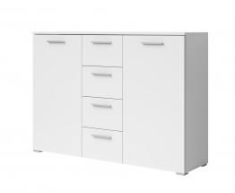 Beta - Kombi komoda, 4x zásuvka, 2x dveře (bílá / bílá)