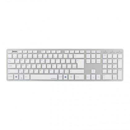 Bezdrátová klávesnice Hama klávesnice Rossano, bíla/stříbrná
