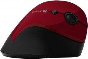 Bezdrátová myš Connect IT CMO2700RD, ergonomická, červená + Zdarma podložka Olpran
