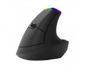 Bezdrátová myš Delux M618C, vertikální, 6 tlačítek, černá + Zdarma podložka Olpran