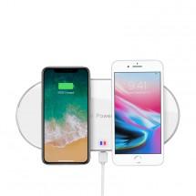 Bezdrátová nabíječka WG pro dva telefony s QI, bílá