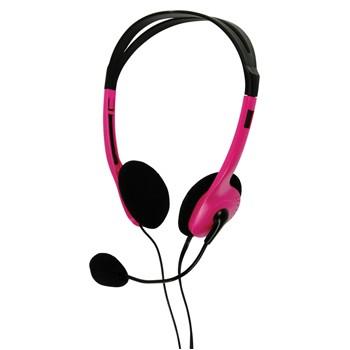 Bezdrátová sluchátka BasicXL sluchátka s mikrofonem k PC, řůžové - BXL-HEADSET1PI
