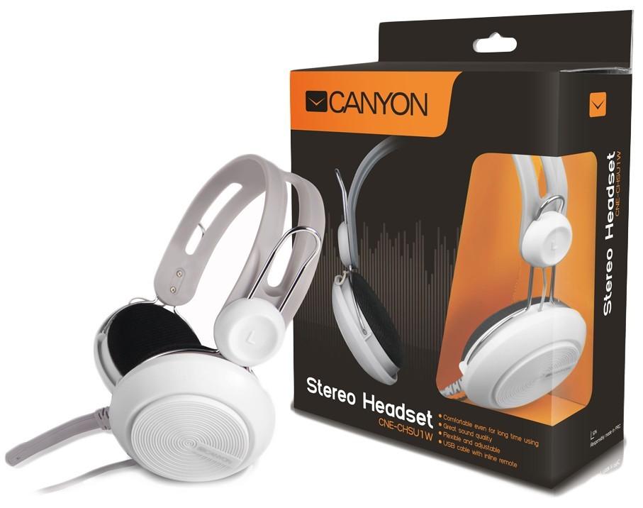 Bezdrátová sluchátka Canyon CNE-CHSU1B, bílý