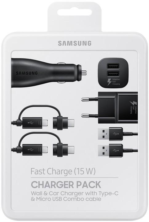 Bezdrátové nabíječky Nabíjecí sada Samsung autonabíječka + nabíječka + 2x kabel