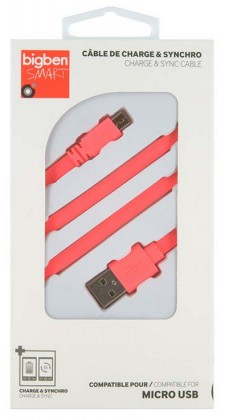 Bigben CABLEFLATMICP - Micro USB kabel plochý 2.1A 1m, růžový