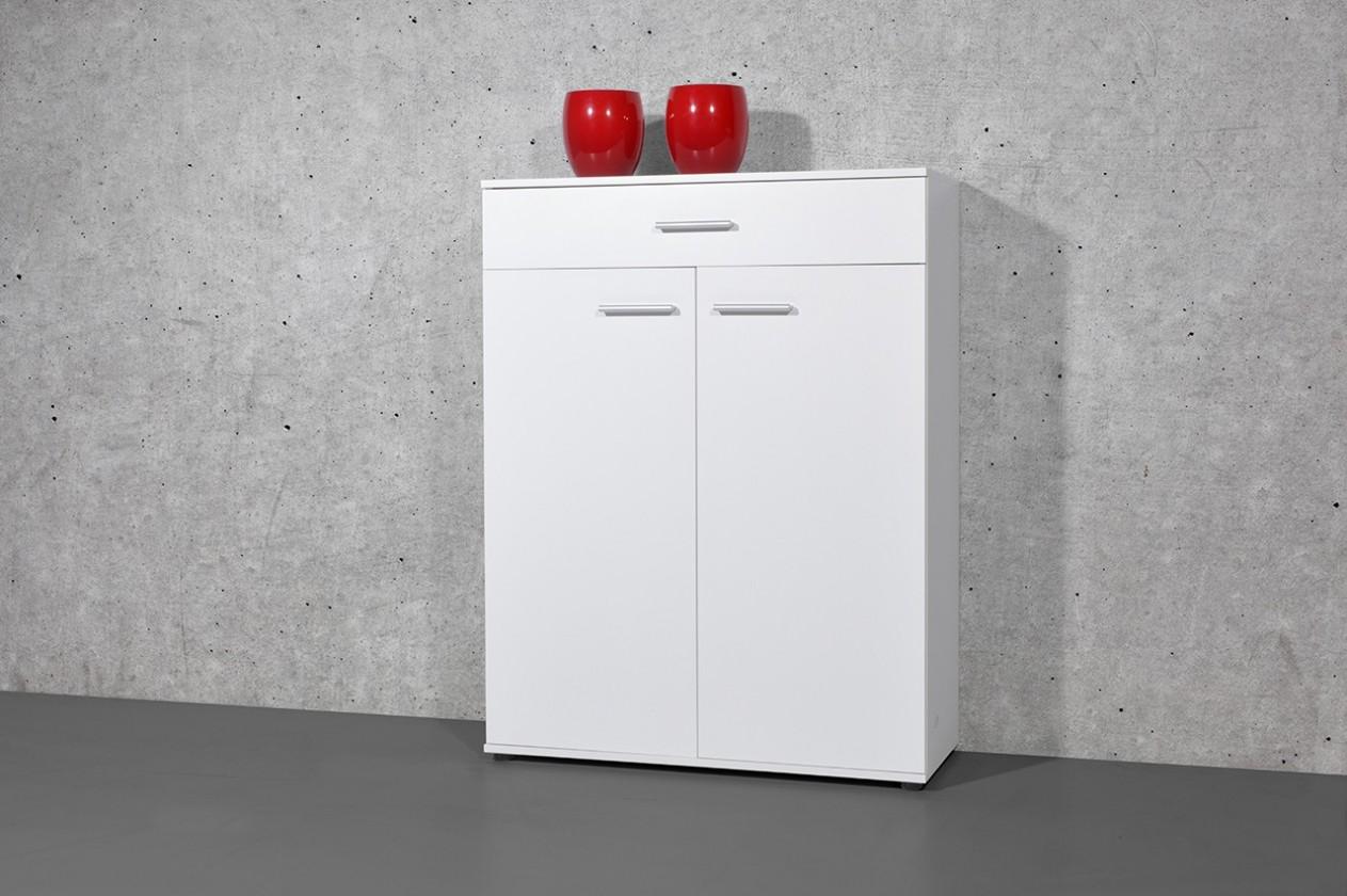Botník Easy - Botník, 2x dveře, 1x zásuvka (bílá)