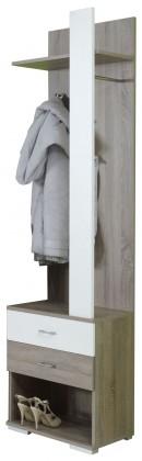 Botník Puma - skříň na boty, věšák (dub sonoma tmavý/bílá )