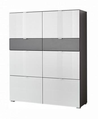 Botníky GW-Alameda - Botník,6x dveře,2x šuplík (antracit/bílá)