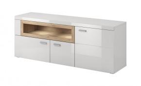 Box In - TV stolek (bílý korpus/bílý front, dub okraje)