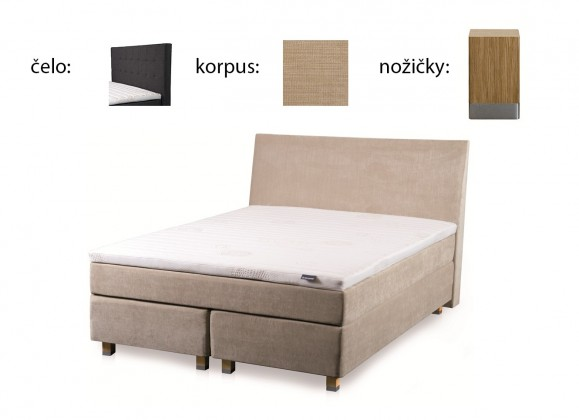 Boxbed (160x200, HB city 125x166 - camel, nohy select dub)