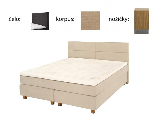 Boxbed (180x200, HB city 125x186 - camel, nohy select dub)