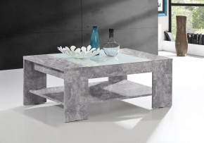 Brady - Konferenční stolek (beton, bílé sklo)