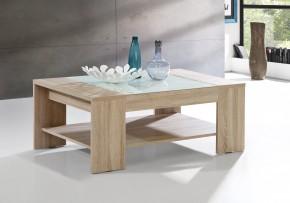 Brady - Konferenční stolek (dub sonoma, bílé sklo)