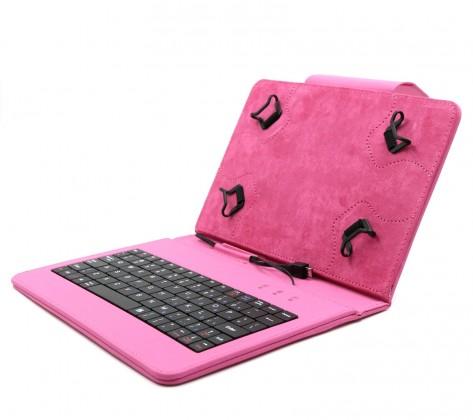 """C-TECH PROTECT pouzdro s klávesnicí 7""""-7,85"""" NUTKC-01, růžové"""