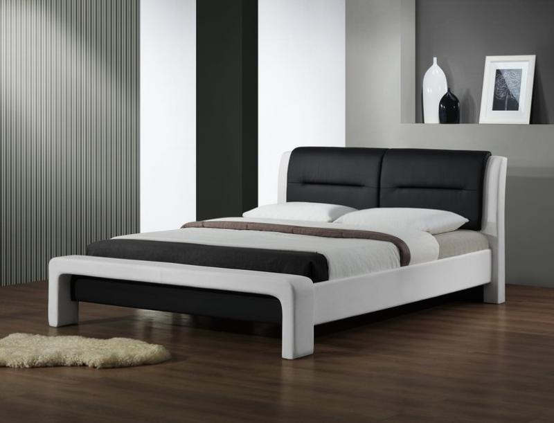 Čalouněná Cassandra - Postel 200x160, rám postele, rošt (bílo-černá)