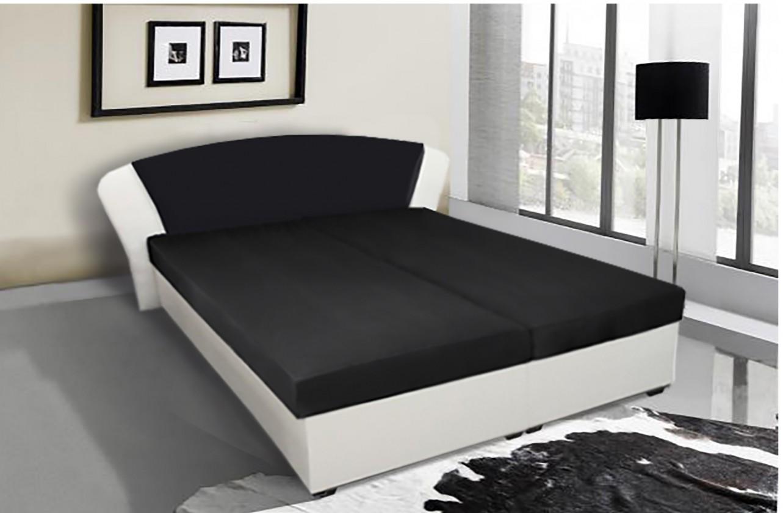 Čalouněná Kula - postel (bílá, černá mura 100)