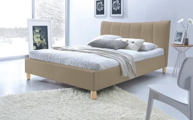 Čalouněná Phily - Postel 200x160, rám postele, rošt (béžová/nožky buk)