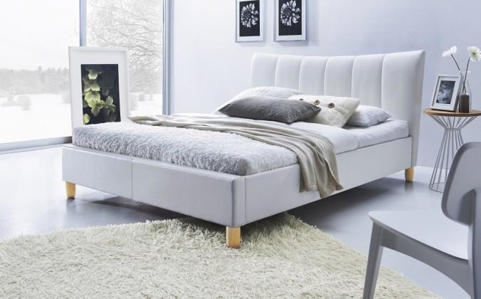 Čalouněná Phily - Postel 200x160, rám postele, rošt (bílá/nožky buk)