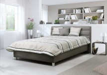 Čalouněná postel Alison 140x200, šedá, vč. mat., pol. roštu a ÚP