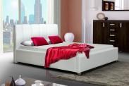 Čalouněná postel Boa Vista, bílá, bez matrace a roštu