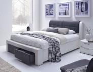 Čalouněná postel Cassandra-S -160x200, rám, rošt, (bílo-černá)