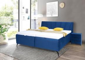 Čalouněná postel Franz 180x200, modrá, včetně matrace, roštu a ÚP