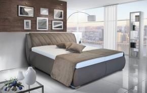 Čalouněná postel Grosseto 180x200 cm, hnědá, s úložným prostorem