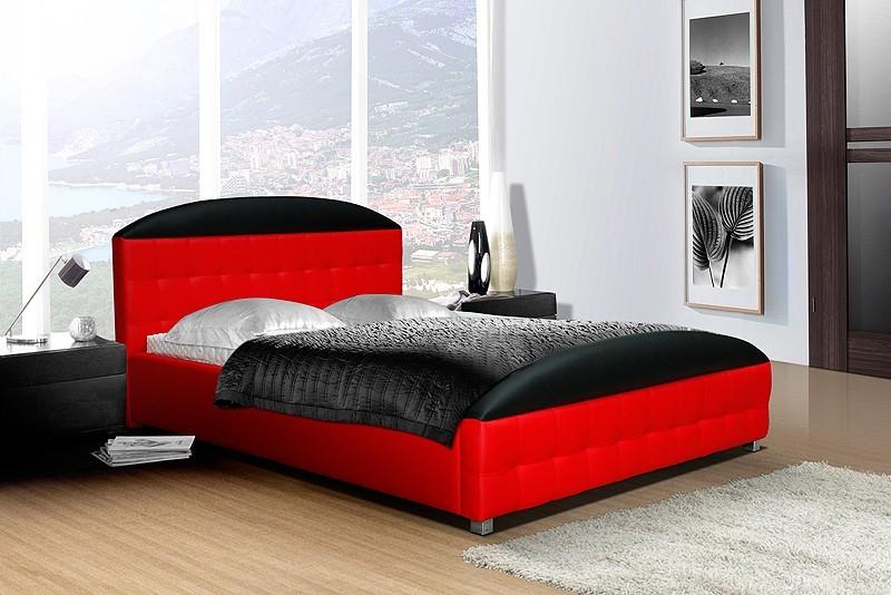 Čalouněná Postel II - červená, matracový rám, úložný prostor