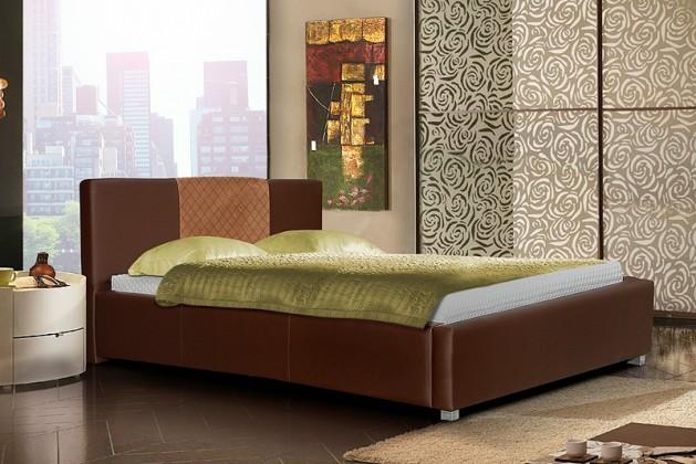 Čalouněná Postel III - hnědá, matracový rám, úložný prostor