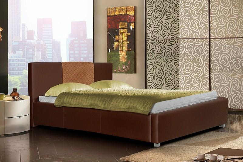 Čalouněná Postel III - hnědá, matracový rám