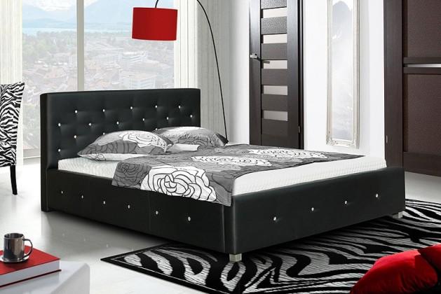 Čalouněná Postel IV - černá, matracový rám, Swarovski