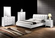 Čalouněná postel Kirsty - 160x200, rám postele, rošt (bílá)