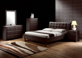 Čalouněná postel Kirsty - 160x200, rám, rošt (tmavě hnědá)