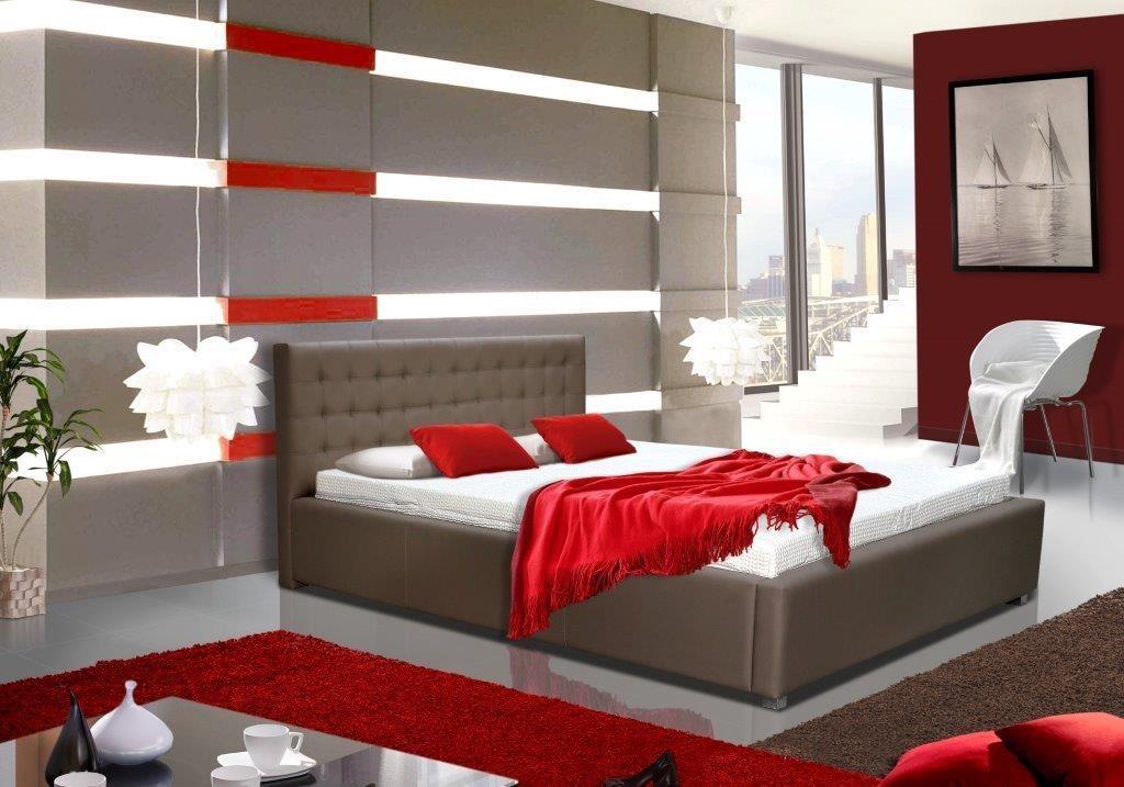 Čalouněná Postel V - 160x200 cm, matracový rám, úložný prostor (soft)