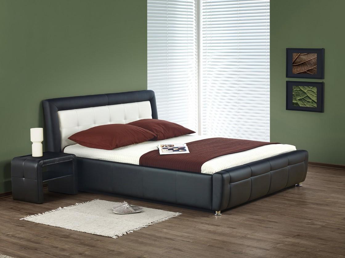 Čalouněná Soho - Postel 200x160, rám postele, rošt (černo-bílá)