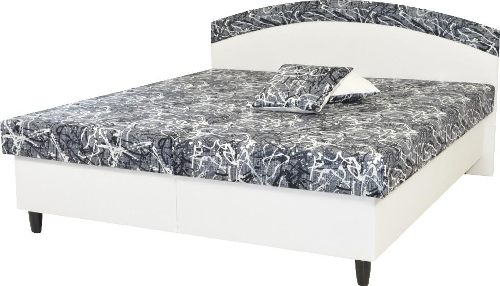 Čalouněné postele Čalouněná postel Corveta 160x200, bílá/šedá, vč. matrace a úp