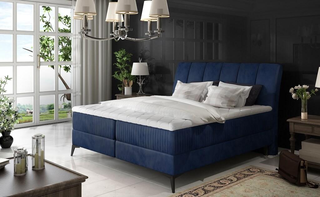 Čalouněné postele Postel Boxspring Valentina 180x200, modrá,vč.matr., topperu a úp