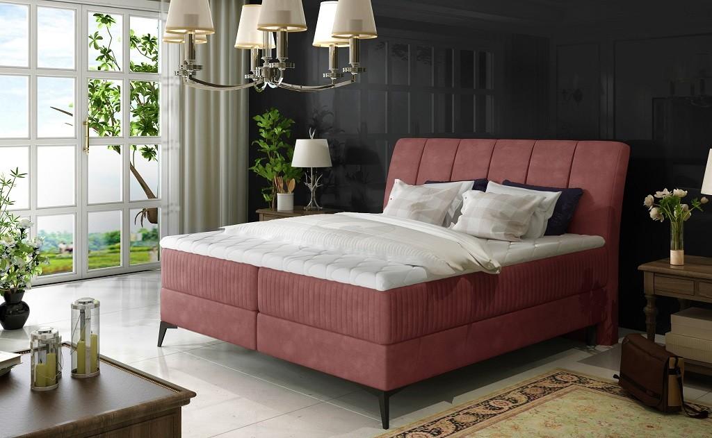 Čalouněné postele Postel Boxspring Valentina 180x200, růžová,vč.matr.,topperu a úp
