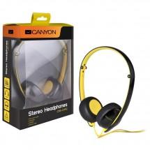 CANYON náhlavní sluchátka s trojhranným kabelem, černo žlutá