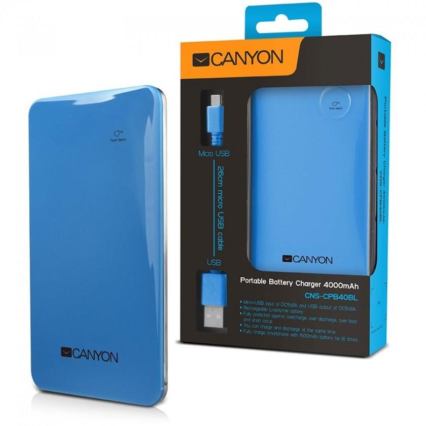 CANYON napájecí akumulátor 4000 mAh, modrý
