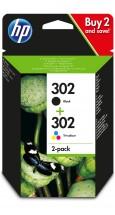 Cartridge HP X4D37AE, 302, dvojbalení, černá,Tri-color